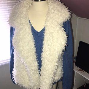 Furry White Vest